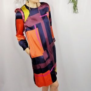 SEE BY CHLOÉ blue multi abstract silk shift dress